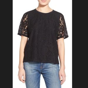 Madewell Lace T-shirt Sz XS BLACK